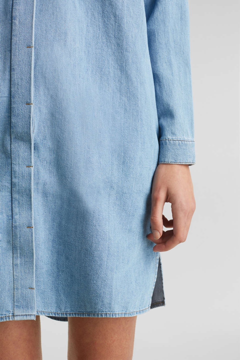 100% cotton denim shirt dress, BLUE LIGHT WASH, detail image number 6