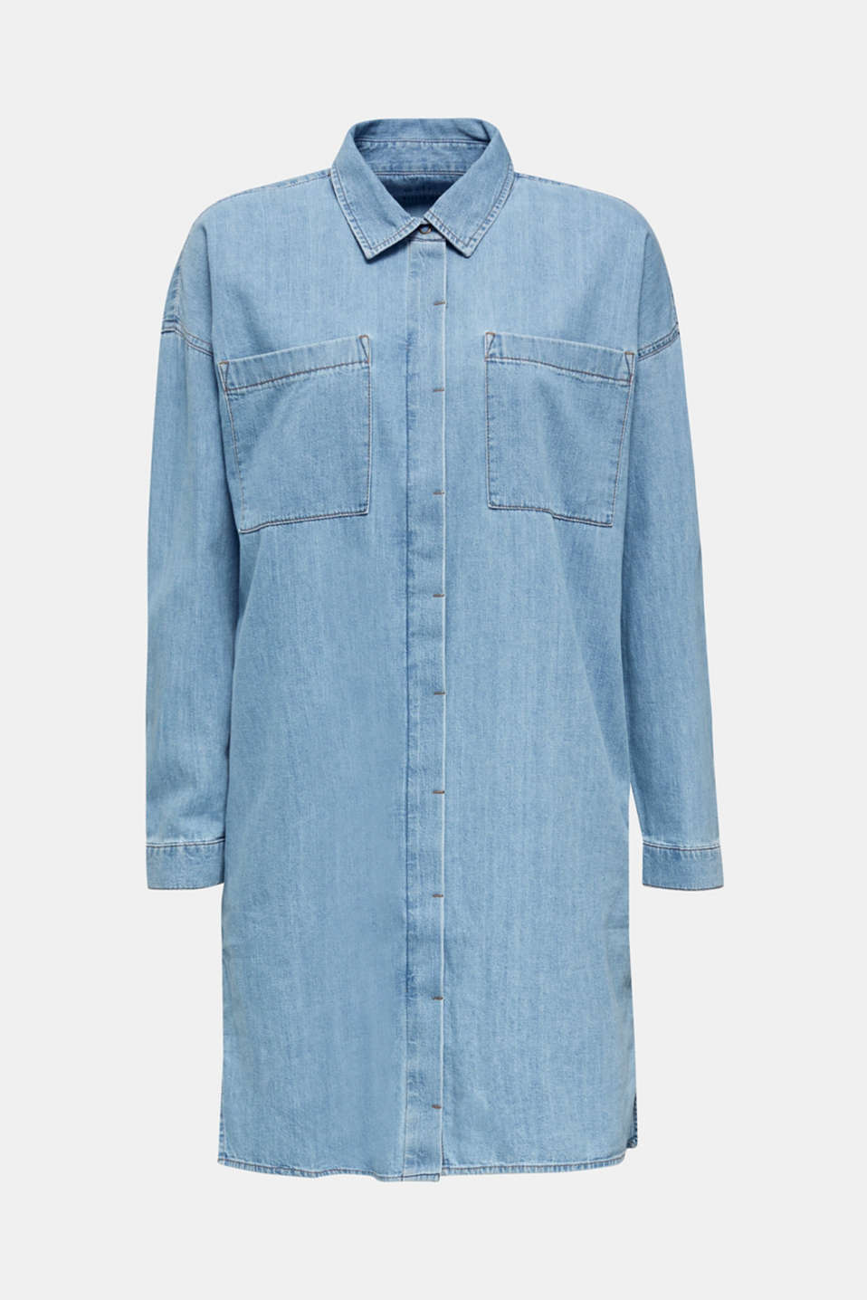 100% cotton denim shirt dress, BLUE LIGHT WASH, detail image number 7