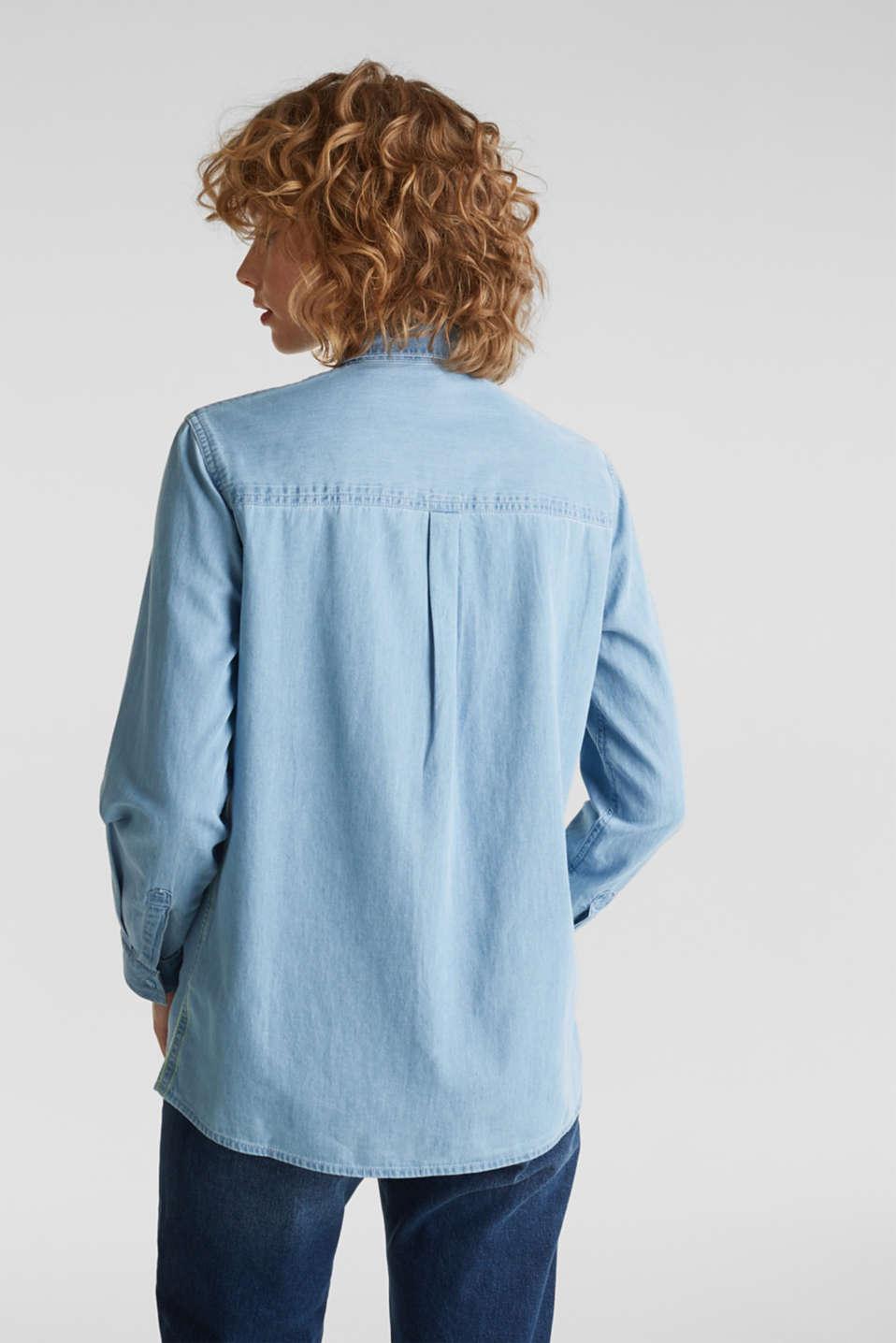 Bleached denim shirt with pockets, 100% cotton, BLUE LIGHT WASH, detail image number 3
