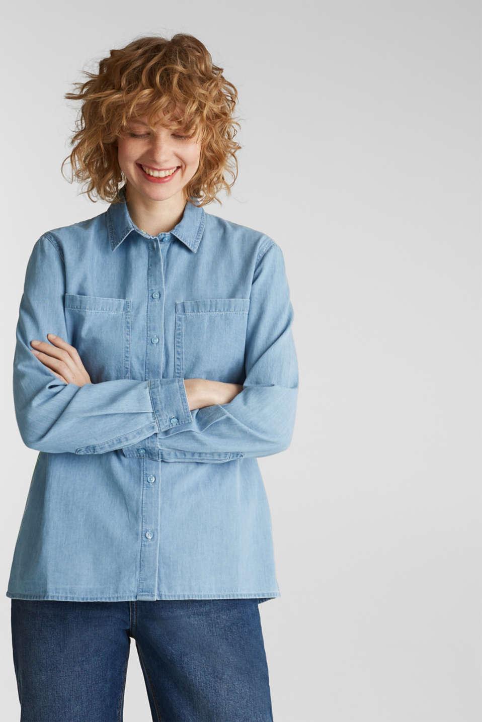Bleached denim shirt with pockets, 100% cotton, BLUE LIGHT WASH, detail image number 5