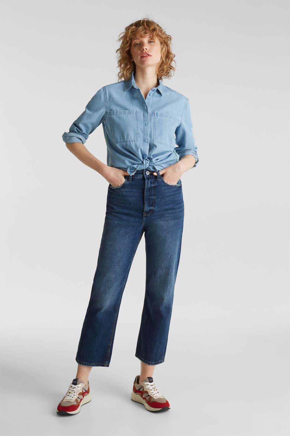 Bleached denim shirt with pockets, 100% cotton, BLUE LIGHT WASH, detail image number 1