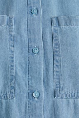 Bleached denim shirt with pockets, 100% cotton, BLUE LIGHT WASH, detail