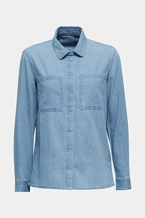Bleached denim shirt with pockets, 100% cotton