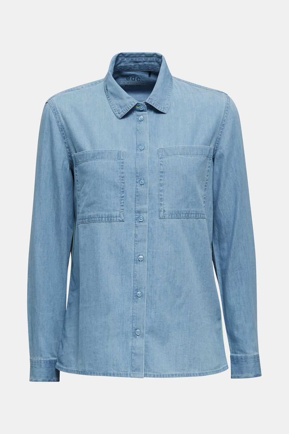 Bleached denim shirt with pockets, 100% cotton, BLUE LIGHT WASH, detail image number 6