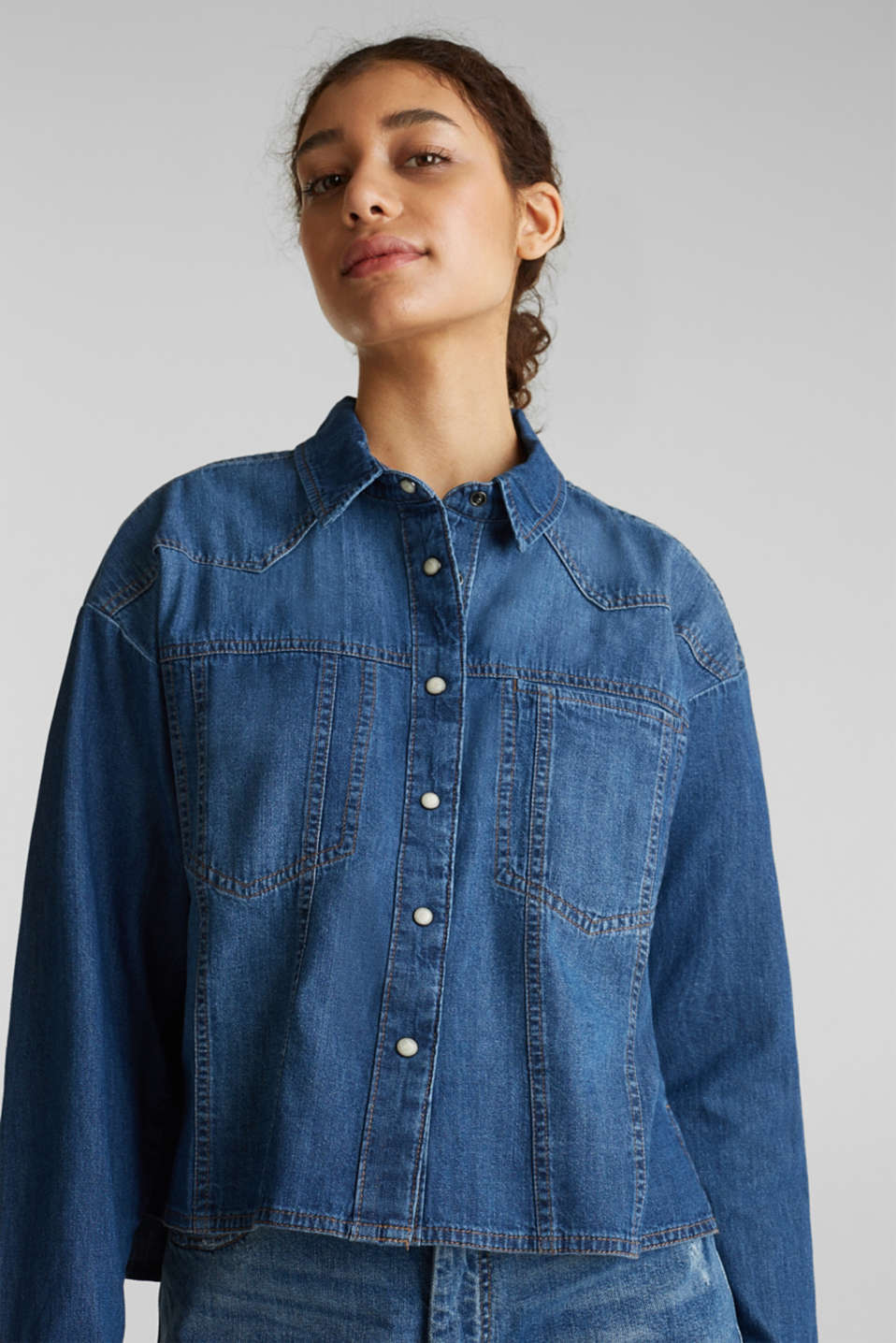 edc - Boxy denim blouse, 100% cotton