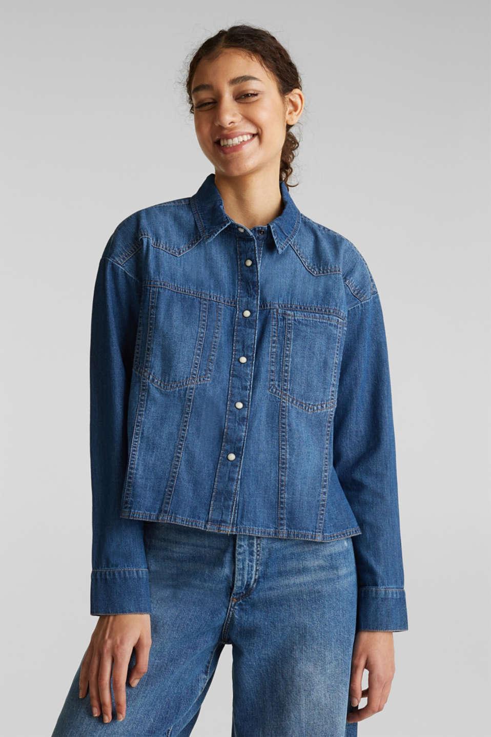 Boxy denim blouse, 100% cotton, BLUE MEDIUM WASH, detail image number 5