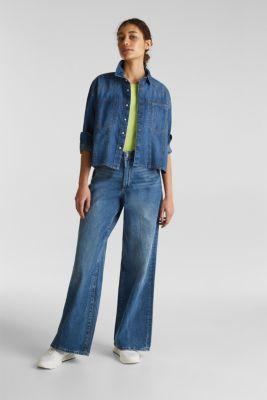 Boxy denim blouse, 100% cotton, BLUE MEDIUM WASH, detail
