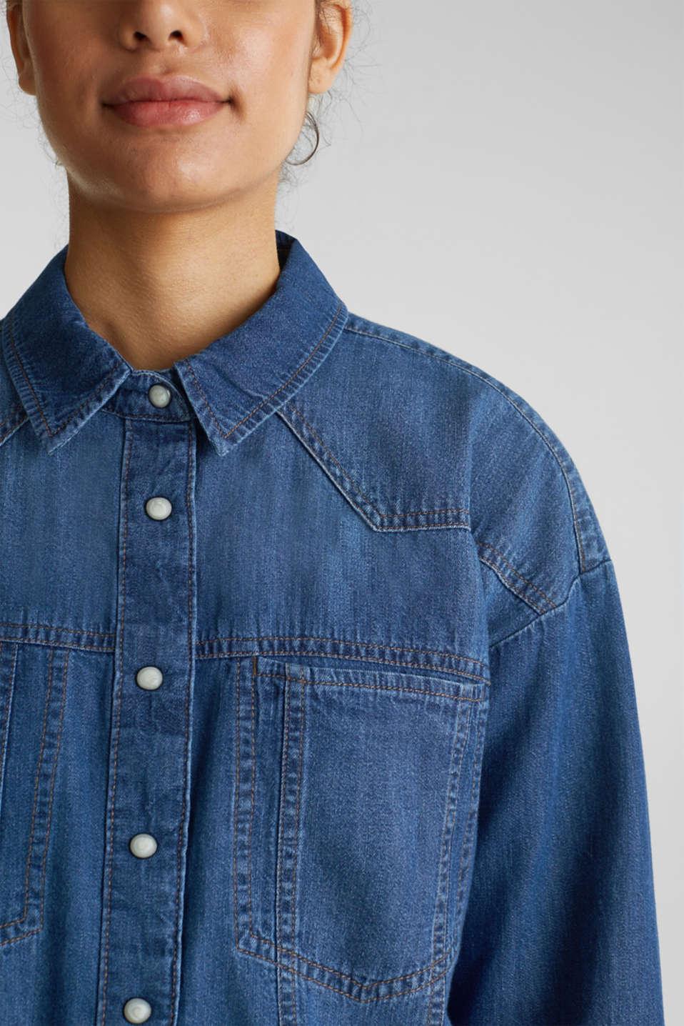 Boxy denim blouse, 100% cotton, BLUE MEDIUM WASH, detail image number 2