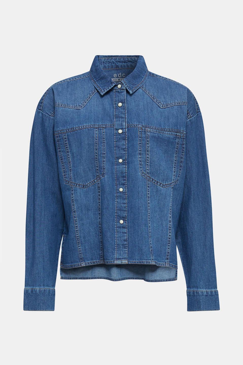 Boxy denim blouse, 100% cotton, BLUE MEDIUM WASH, detail image number 6