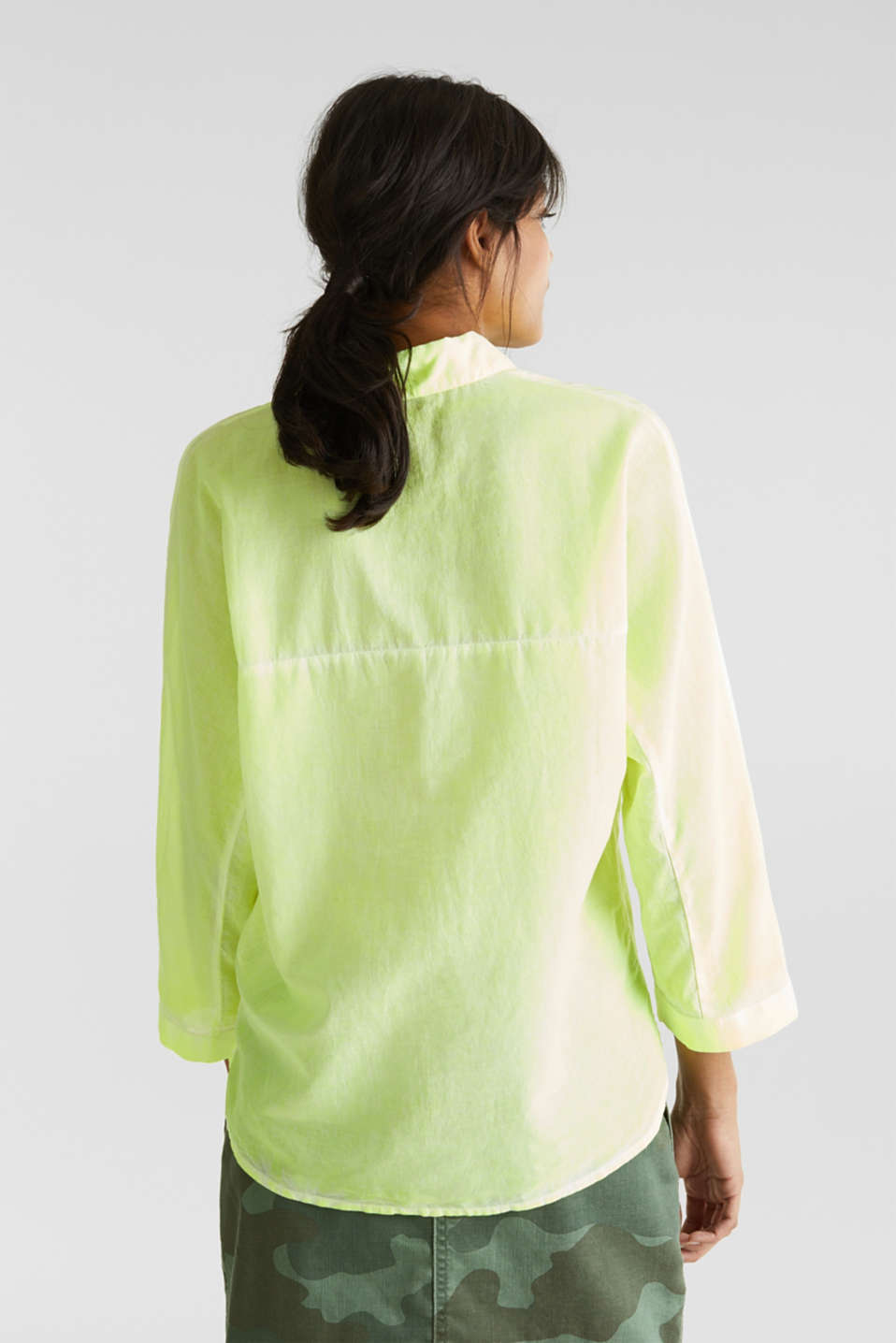 Batik blouse made of cotton, LIME YELLOW, detail image number 3