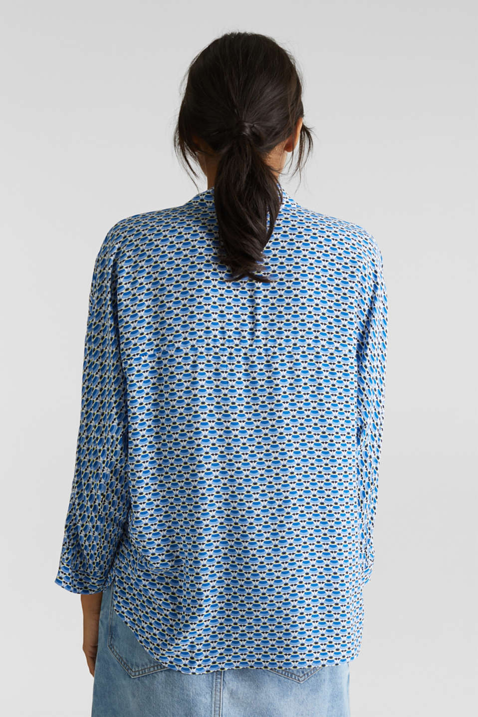Blouse with a geometric print, OFF WHITE 3, detail image number 2