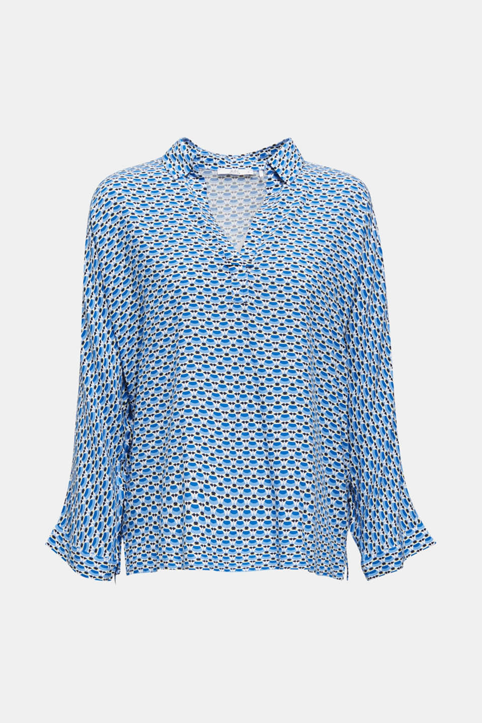 Blouse with a geometric print, OFF WHITE 3, detail image number 6