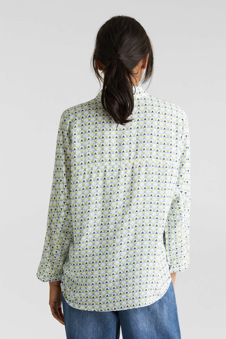 Blouse with a geometric print, OFF WHITE 4, detail image number 3