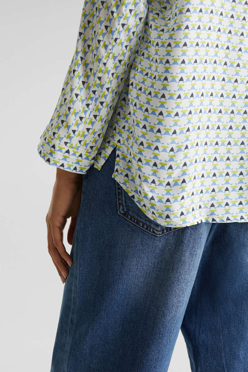 Blouse with a geometric print, OFF WHITE 4, detail image number 5