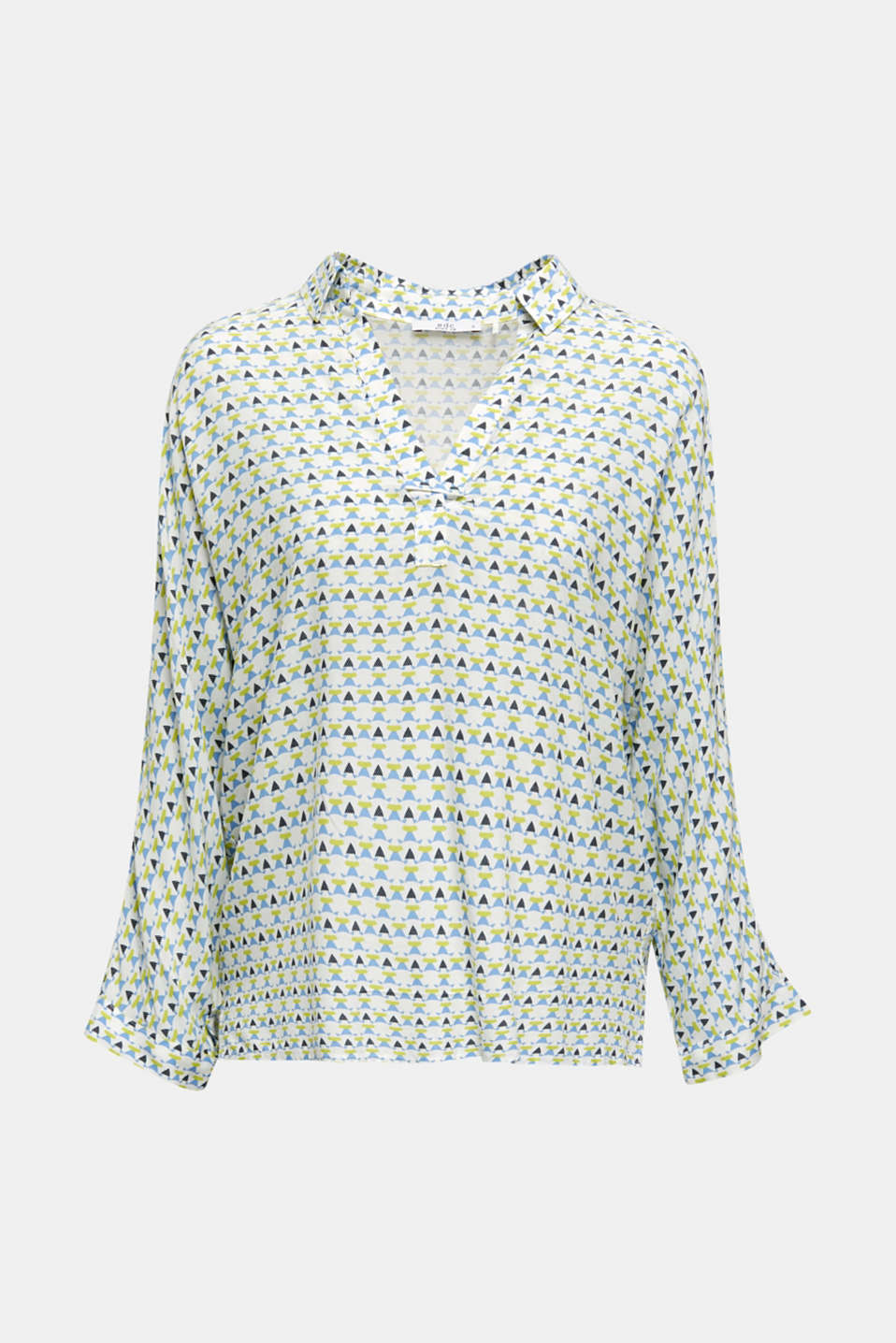 Blouse with a geometric print, OFF WHITE 4, detail image number 6