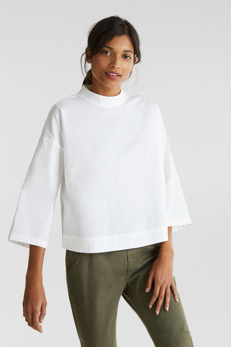 edc - Boxy blouse with a stand-up collar, stretch cotton