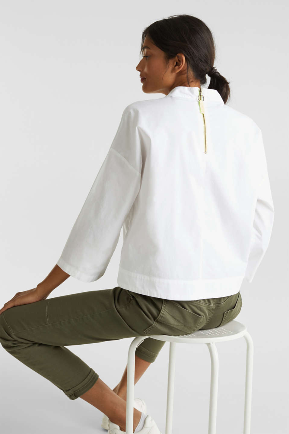 Boxy blouse with a stand-up collar, stretch cotton, WHITE, detail image number 3