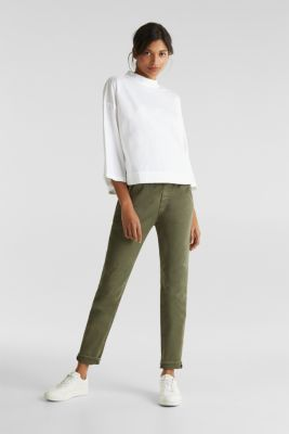 Boxy blouse with a stand-up collar, stretch cotton, WHITE, detail