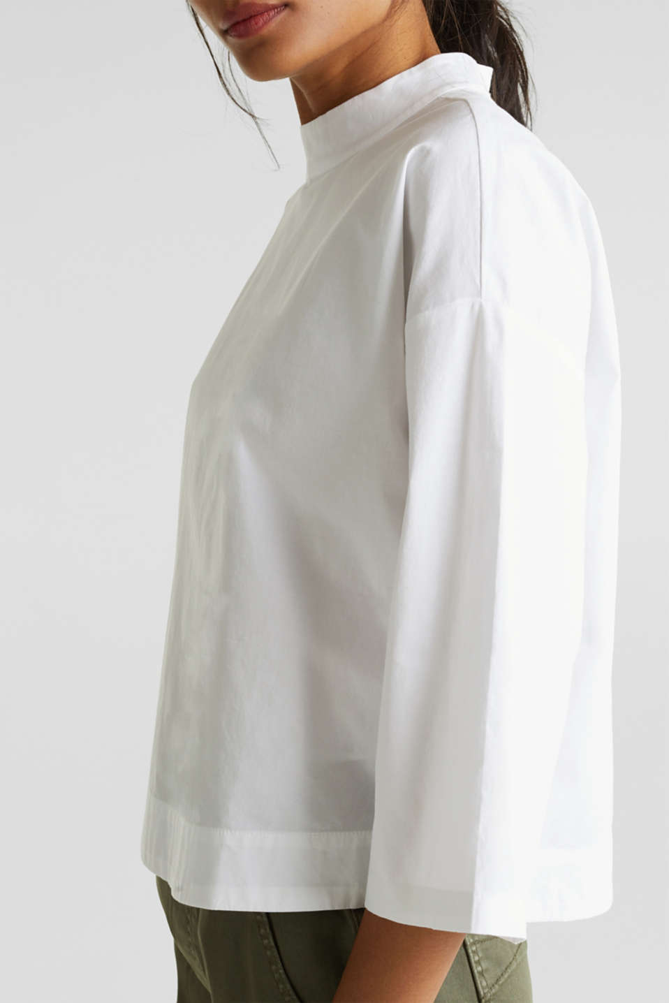 Boxy blouse with a stand-up collar, stretch cotton, WHITE, detail image number 2