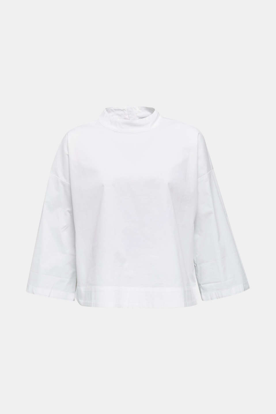 Boxy blouse with a stand-up collar, stretch cotton, WHITE, detail image number 5