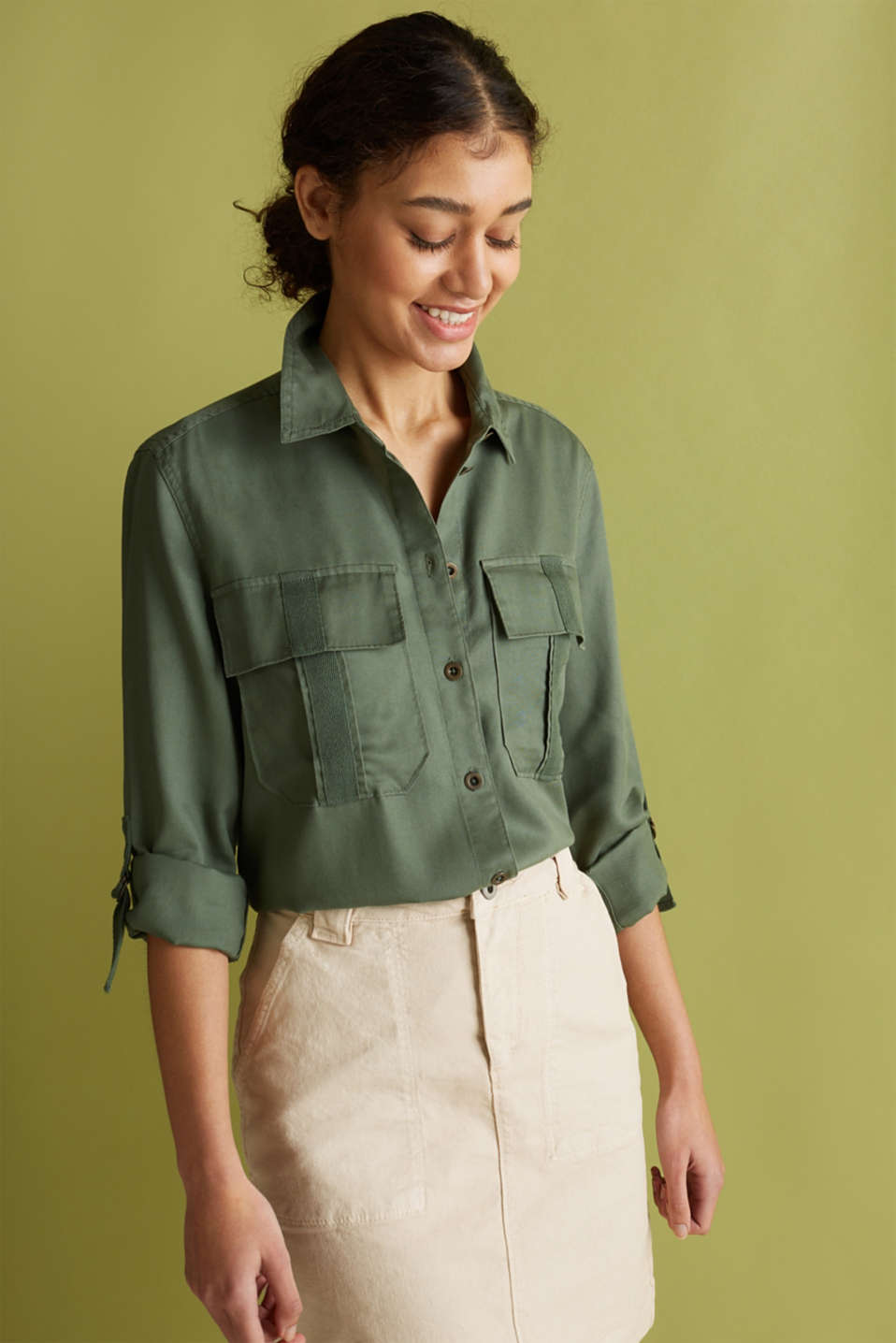 edc - Blouse in utility look, 100% lyocell