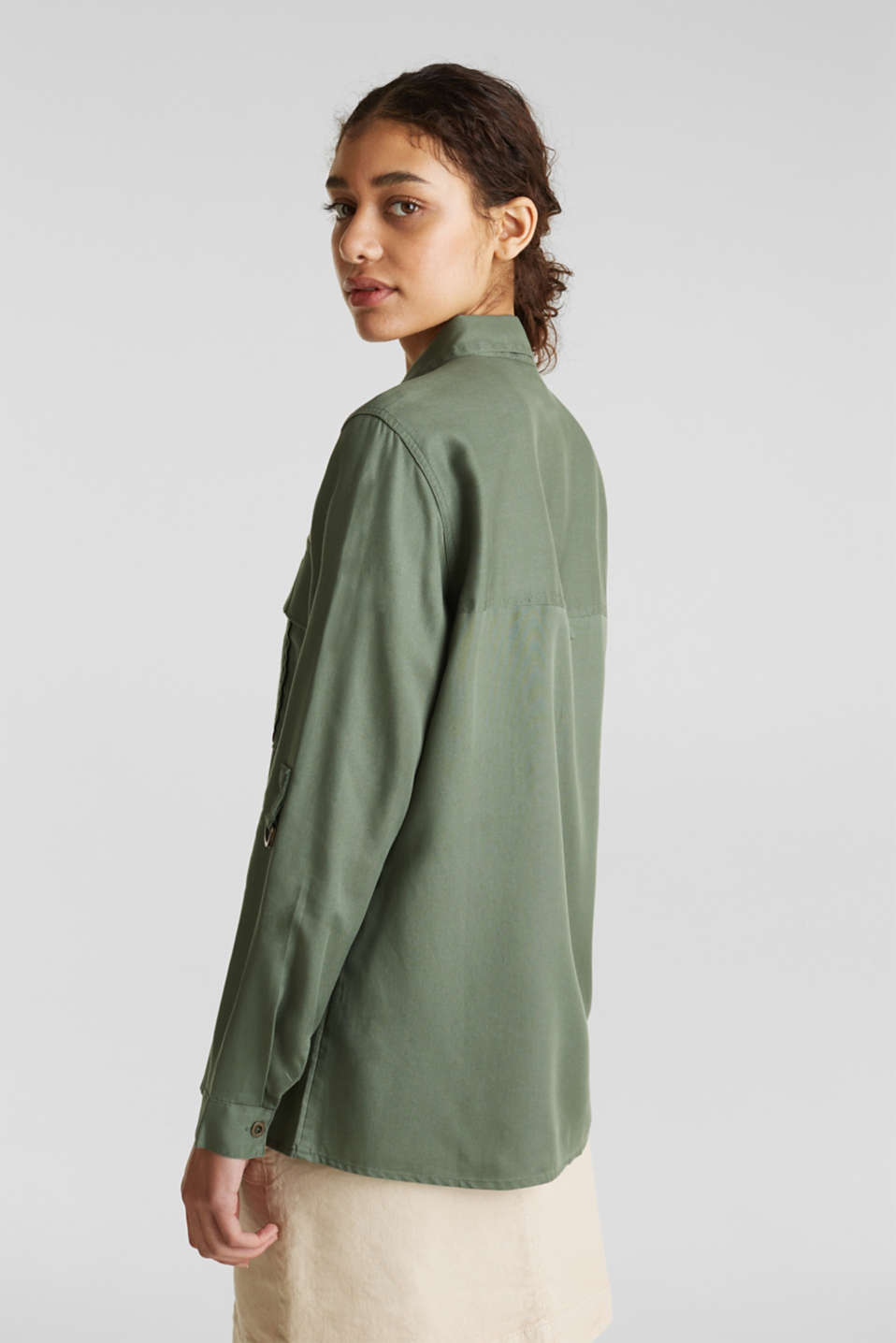 Utility blouse made of lyocell, KHAKI GREEN, detail image number 3