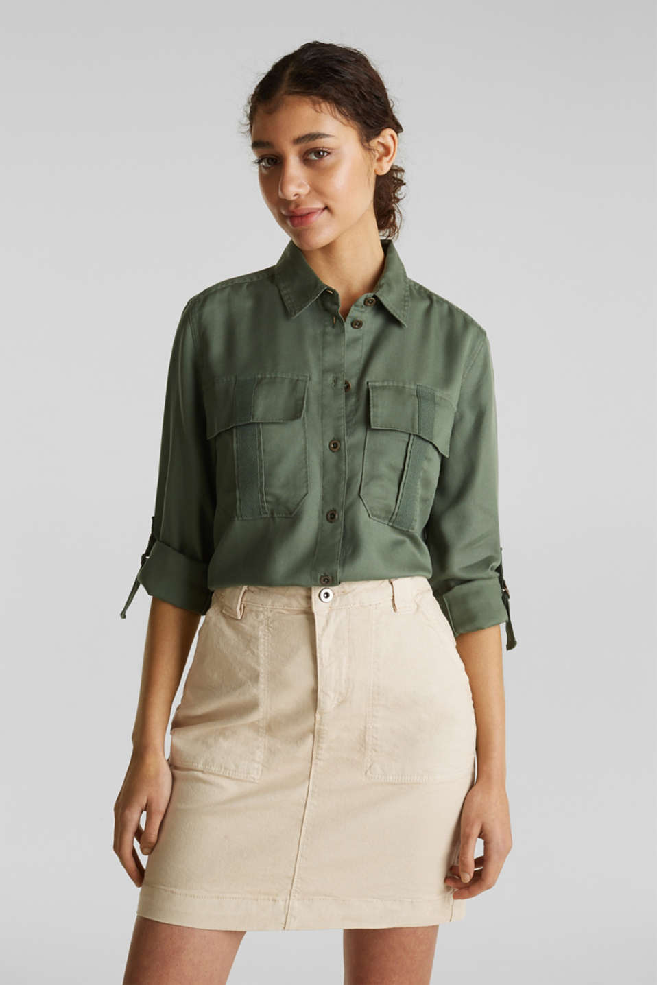 Utility blouse made of lyocell, KHAKI GREEN, detail image number 6