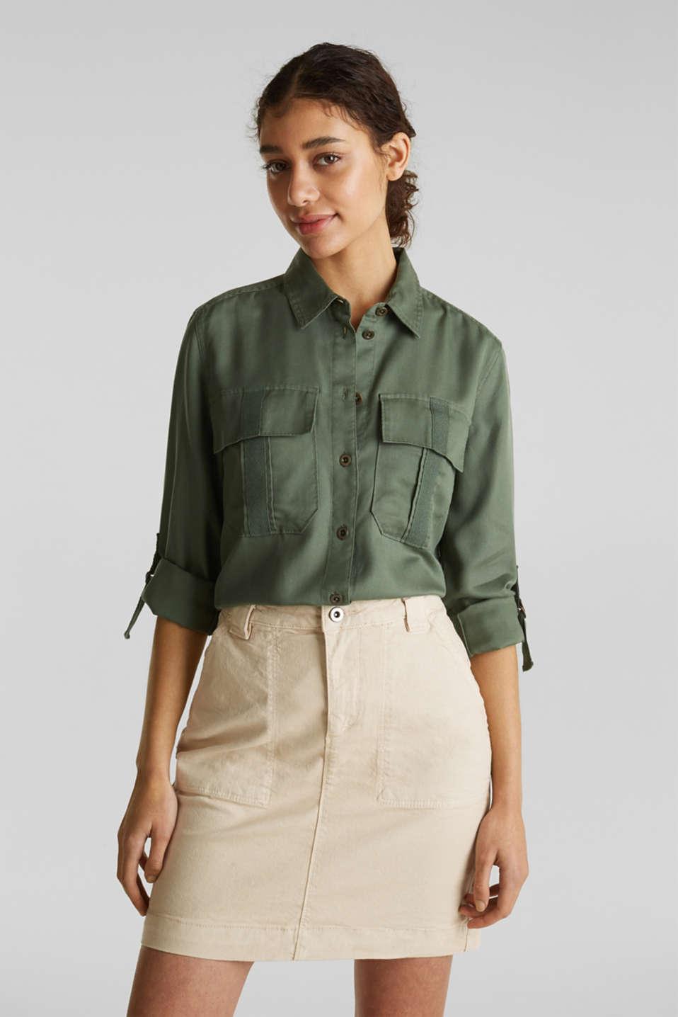Utility-style blouse, 100% lyocell, KHAKI GREEN, detail image number 6