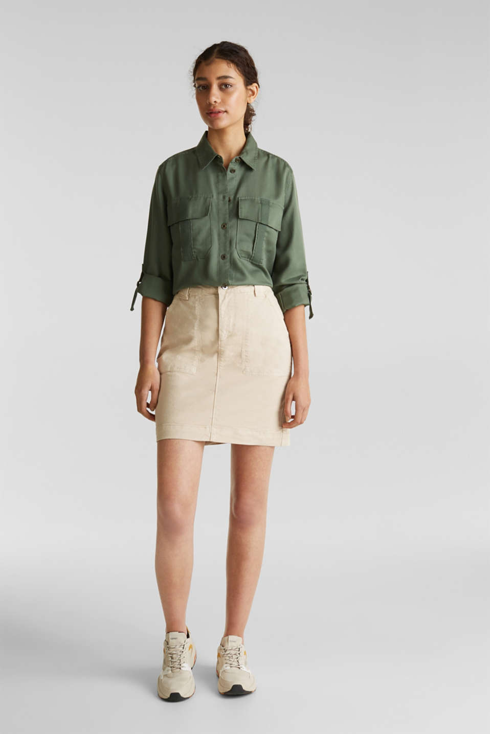 Utility blouse made of lyocell, KHAKI GREEN, detail image number 1