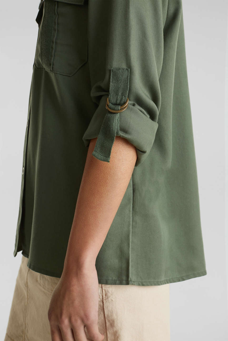 Utility blouse made of lyocell, KHAKI GREEN, detail image number 5