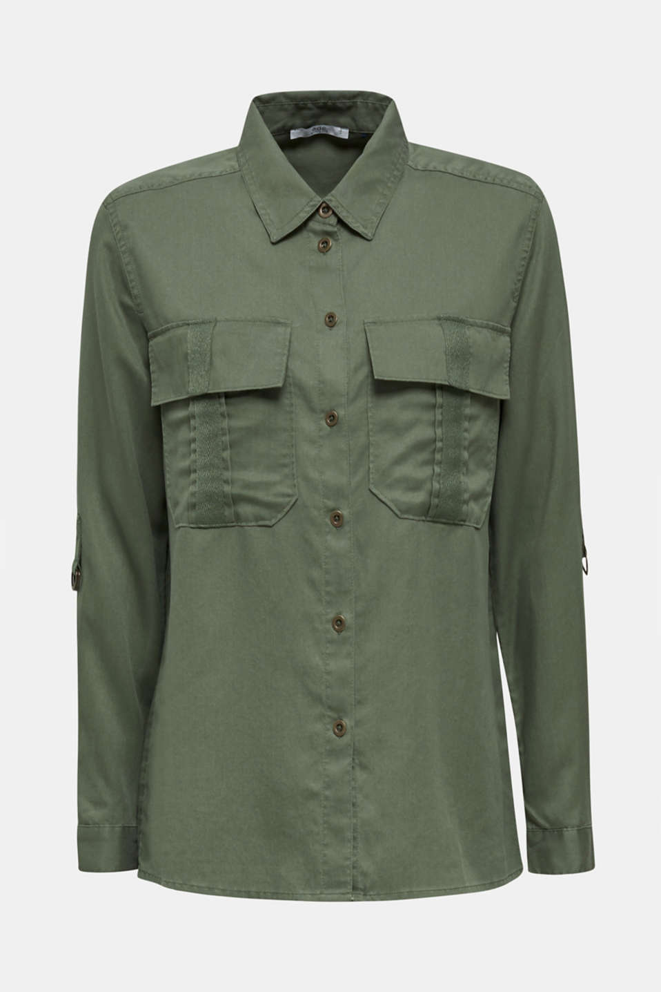 Utility-style blouse, 100% lyocell, KHAKI GREEN, detail image number 7