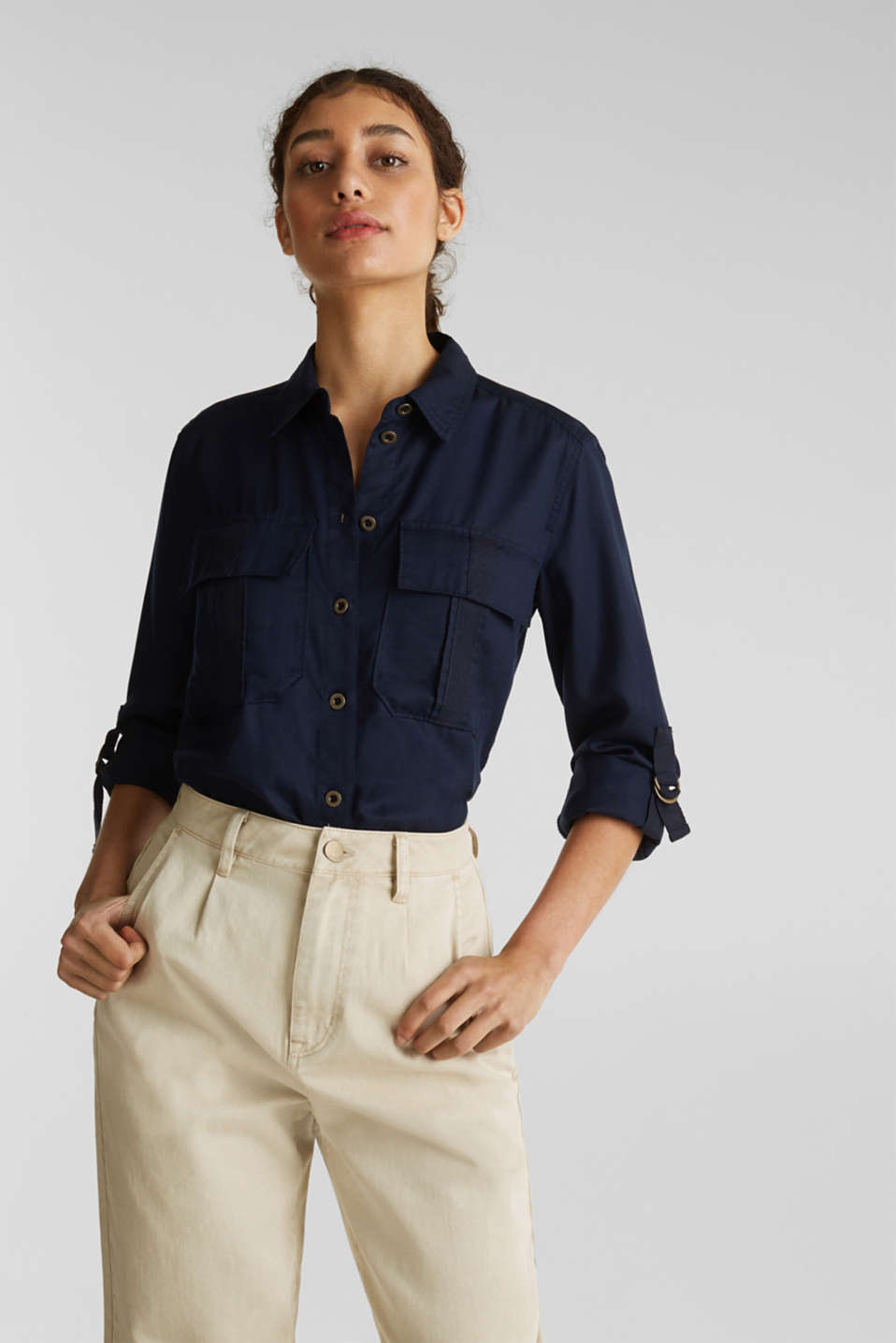 Utility-style blouse, 100% lyocell, NAVY, detail image number 0
