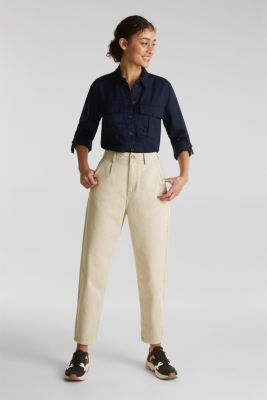 Utility-style blouse, 100% lyocell, NAVY, detail