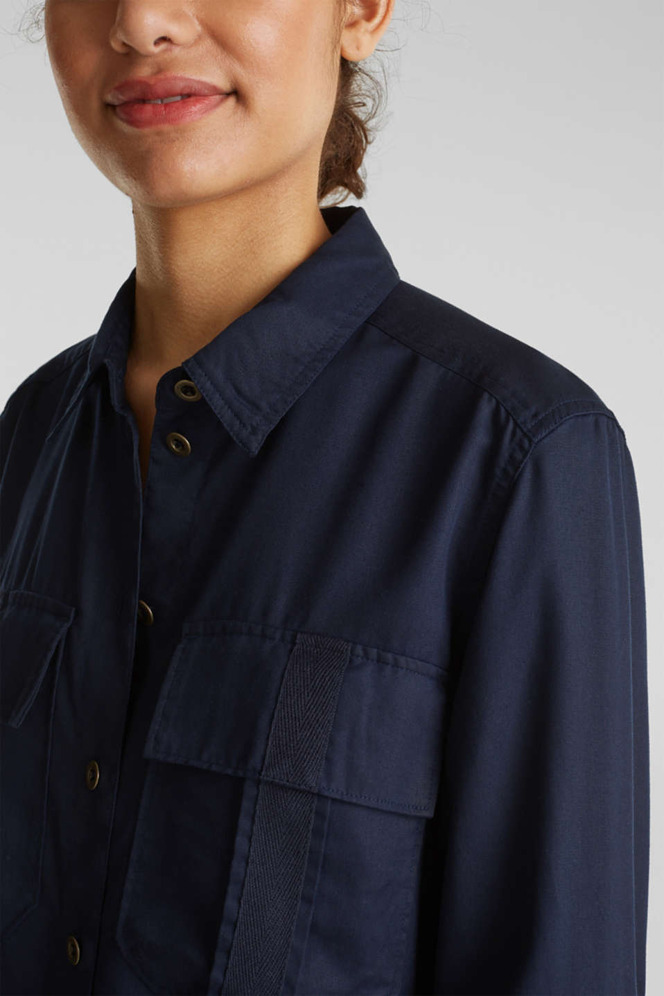Utility-style blouse, 100% lyocell, NAVY, detail image number 2