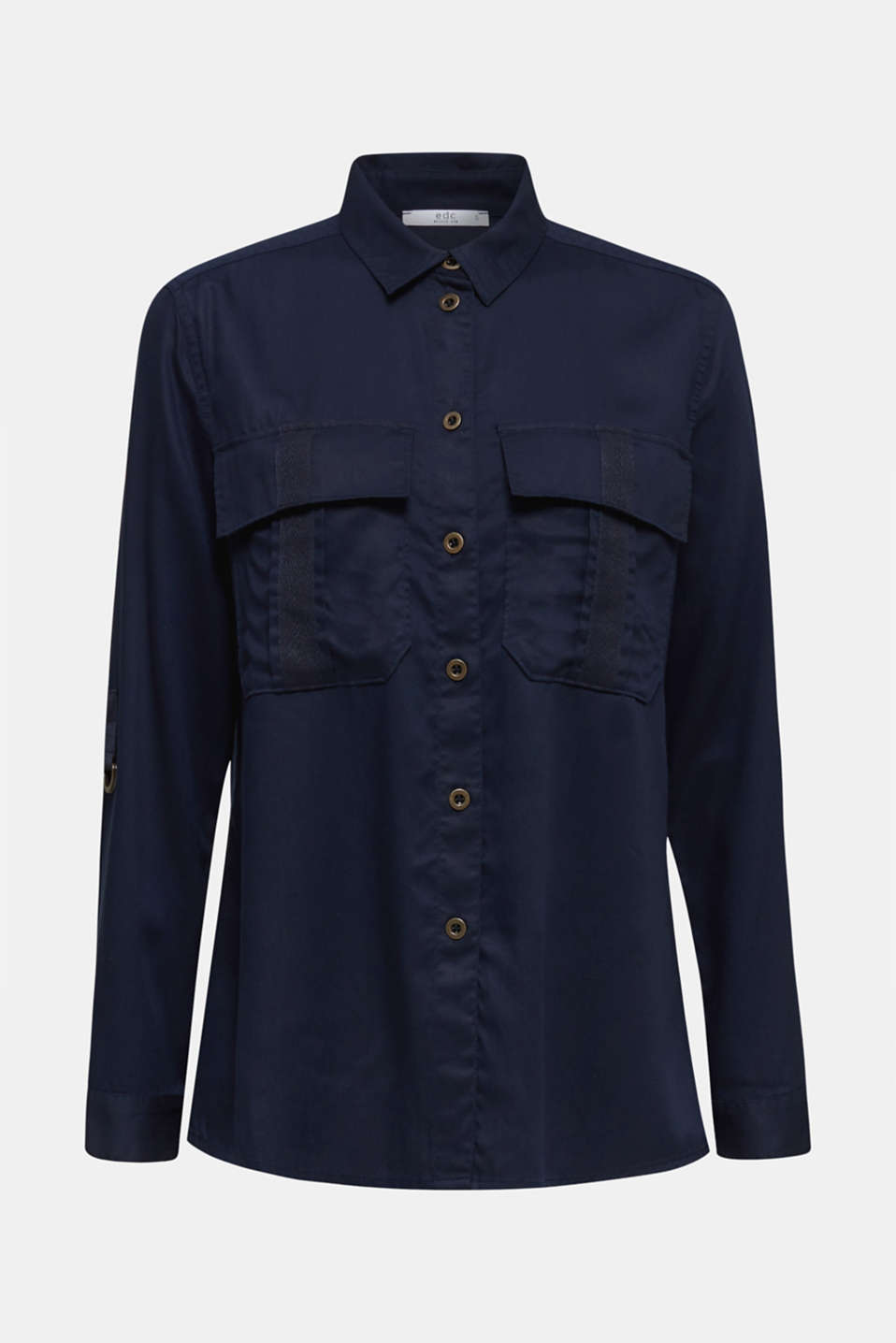 Utility-style blouse, 100% lyocell, NAVY, detail image number 6