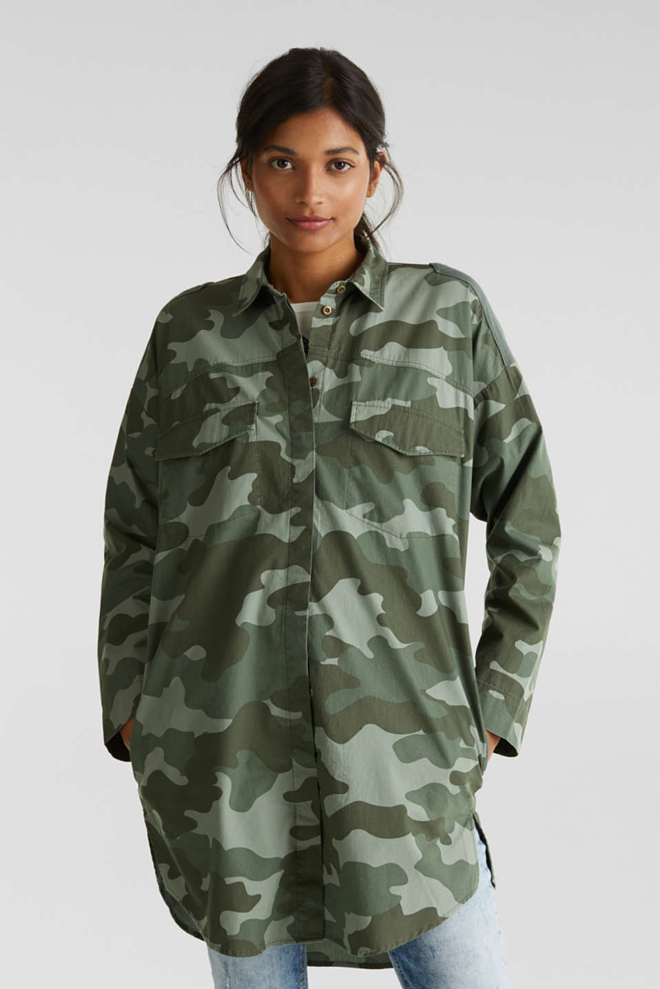 edc - Oversized camouflage blouse, 100% cotton