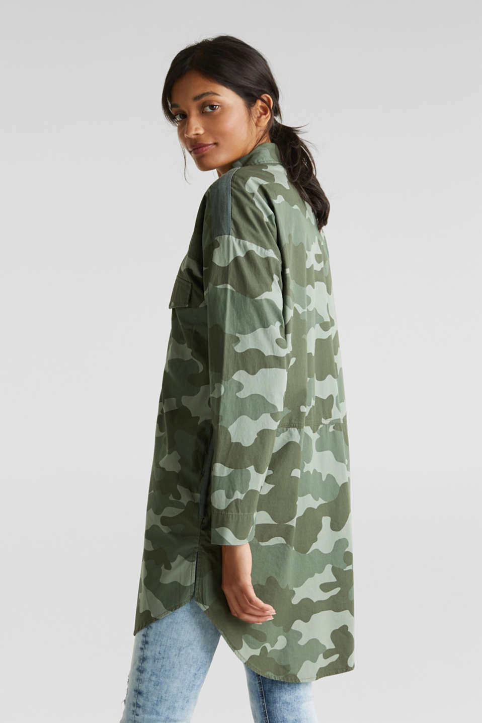 Oversized cotton blouse, KHAKI GREEN, detail image number 3
