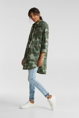 Oversized cotton blouse, KHAKI GREEN, detail