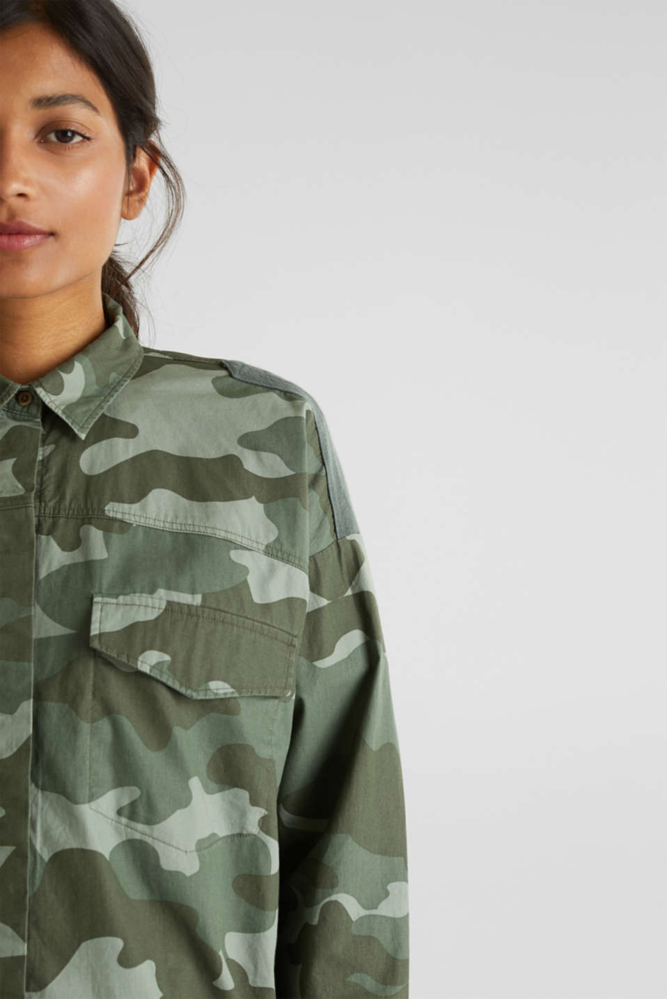 Oversized cotton blouse, KHAKI GREEN, detail image number 2