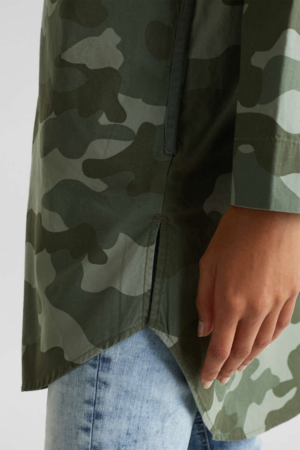 Oversized cotton blouse, KHAKI GREEN, detail image number 5