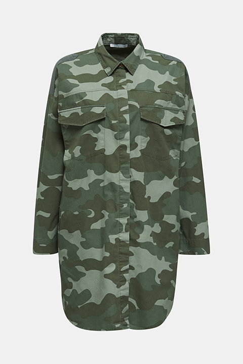 Oversized camouflage blouse, 100% cotton