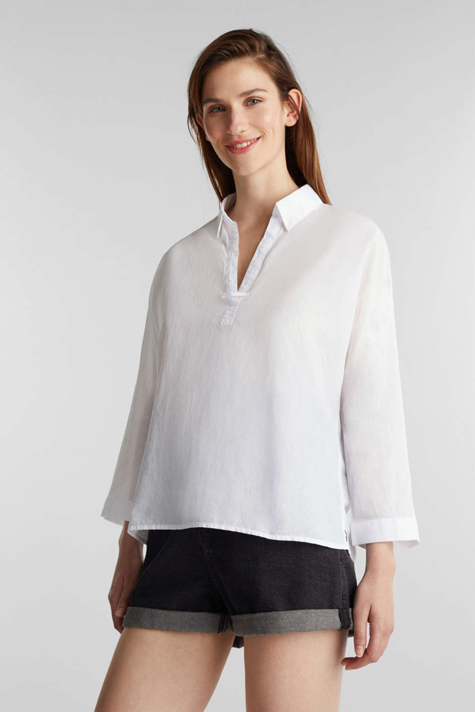 Slightly sheer shirt blouse, 100% cotton, WHITE, detail image number 0