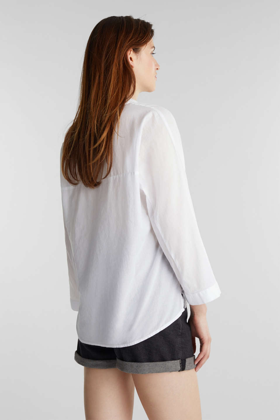 Slightly sheer shirt blouse, 100% cotton, WHITE, detail image number 2
