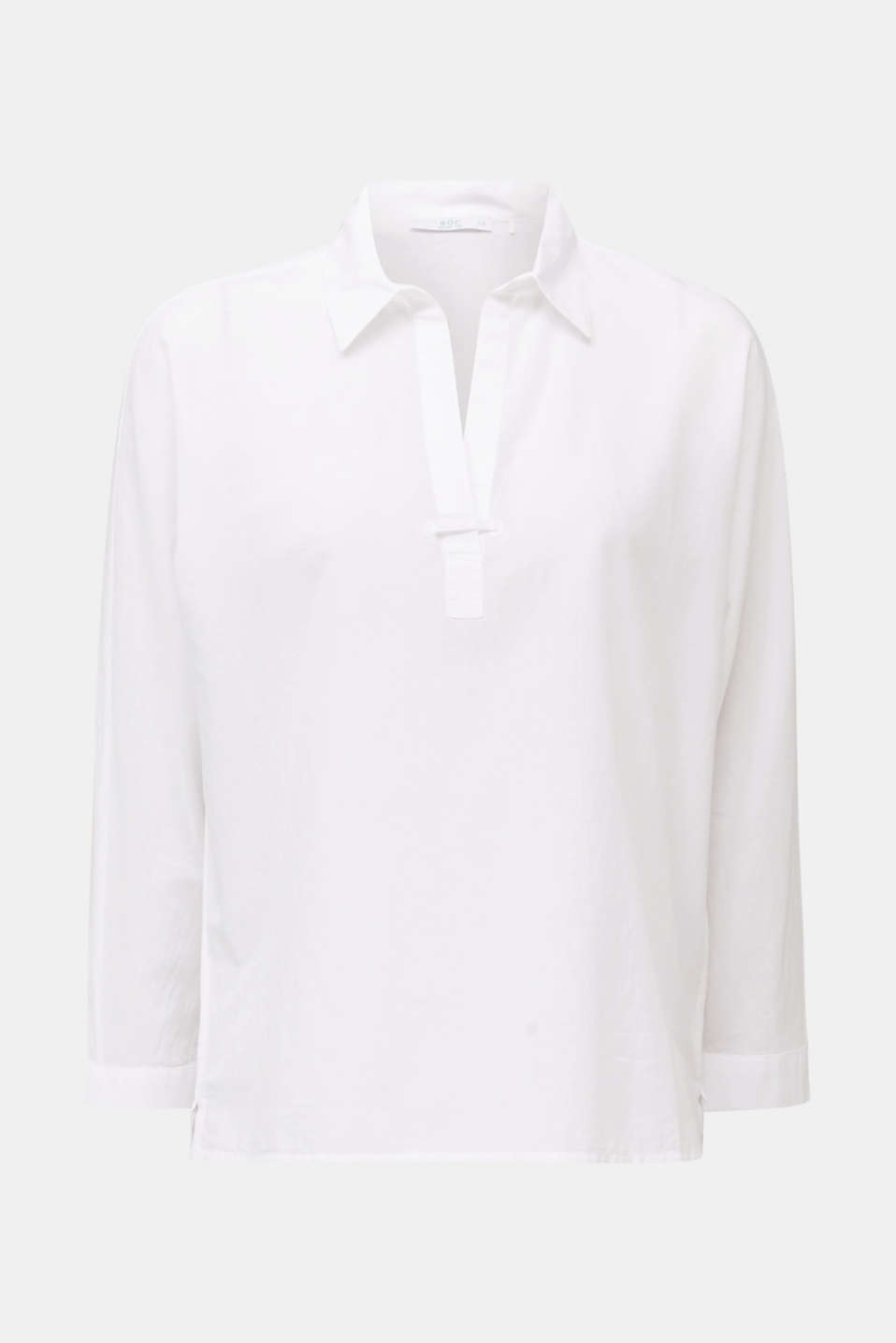 Slightly sheer shirt blouse, 100% cotton, WHITE, detail image number 7