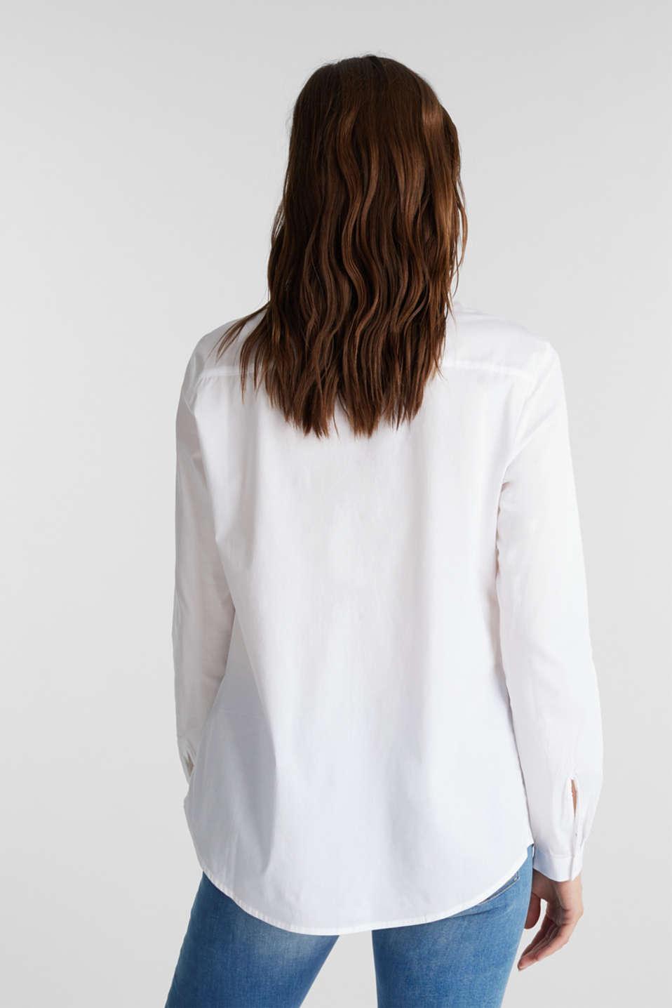 Zip-fastening shirt blouse in organic cotton, WHITE, detail image number 3