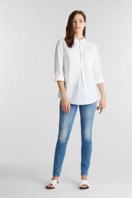 Zip-fastening shirt blouse in organic cotton, WHITE, detail