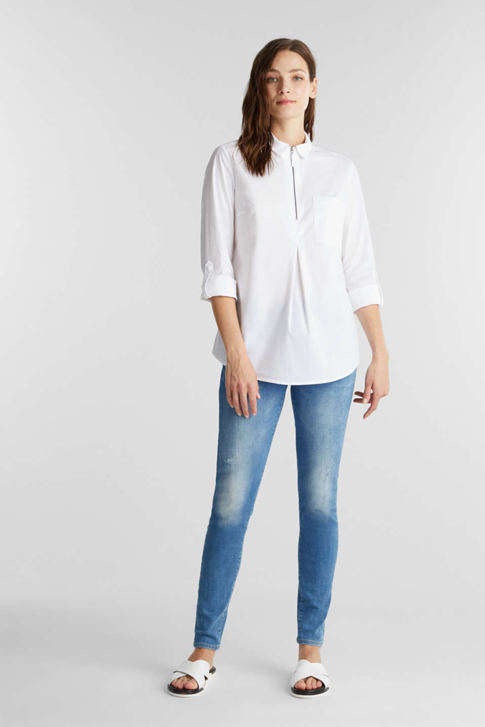 Zip-fastening shirt blouse in organic cotton, WHITE, detail image number 1