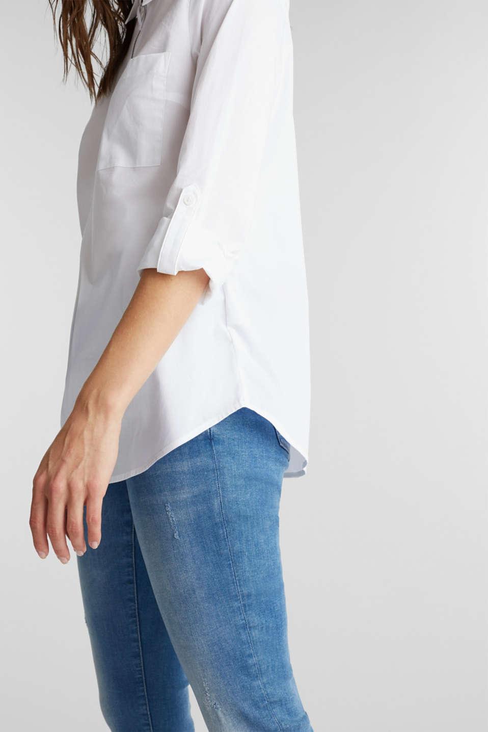 Zip-fastening shirt blouse in organic cotton, WHITE, detail image number 5
