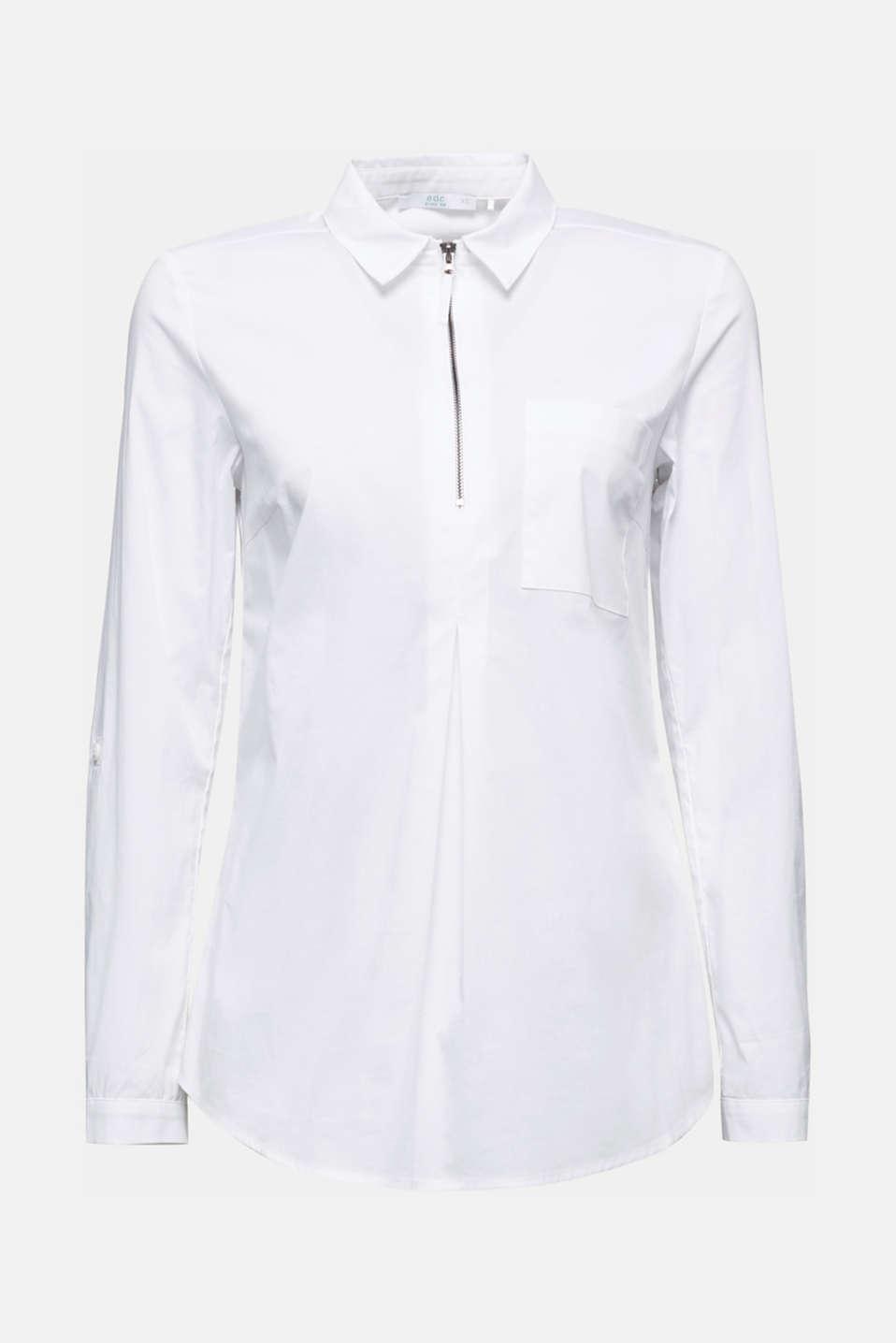 Zip-fastening shirt blouse in organic cotton, WHITE, detail image number 6