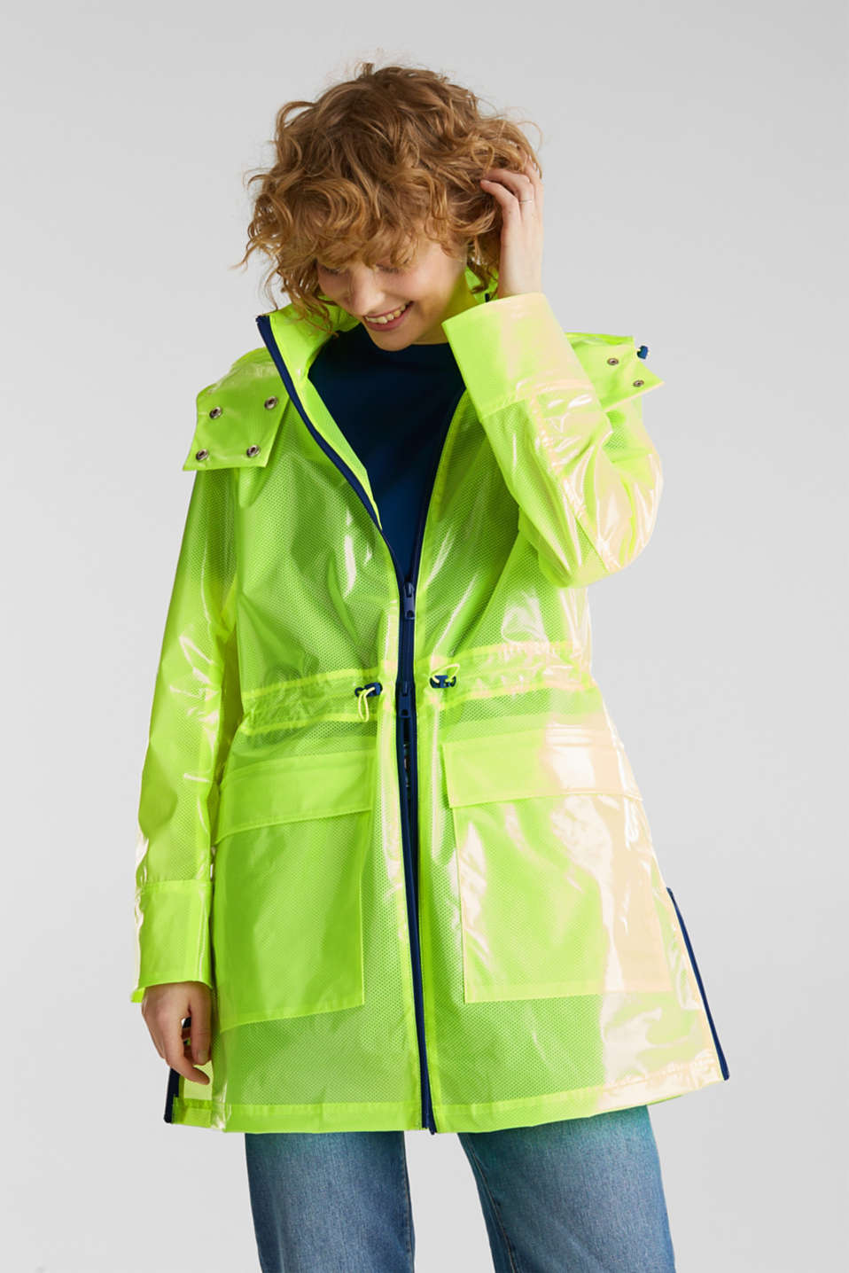 NEON rain jacket with mesh lining, LIME YELLOW, detail image number 0